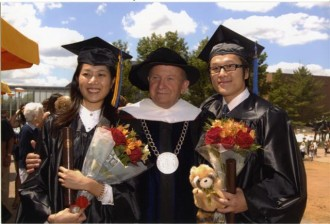 Photo of Dr. Diether H. Haenicke at commencements.