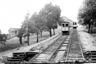Photo of WMU's two trolleys in operation.