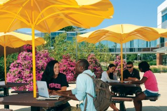 Photo of students studying at outdoor café tables shaded by gold umbrellas.