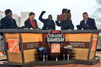 Photo of the ESPN College GameDay cast choosing WMU as the likely winner of a 2016 football game they were featuring.
