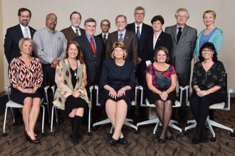 Group photo of Last year's campuswide award recipients with President John M. Dunn and Provost Timothy J. Greene.