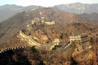 Aerial photo of a section of the Great Wall.
