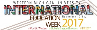 "Top portion of the International Education Week poster that shows the word ""International"" spelled out using portions of country flags and includes #worldatwestern, #globallyengagedbroncos and #iew2017."