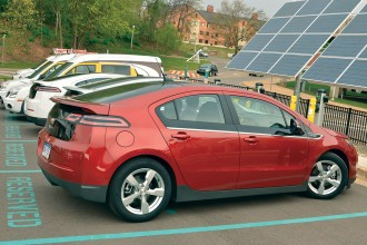 Photo of cars recharging at one of WMU's electric vehicle charging stations.