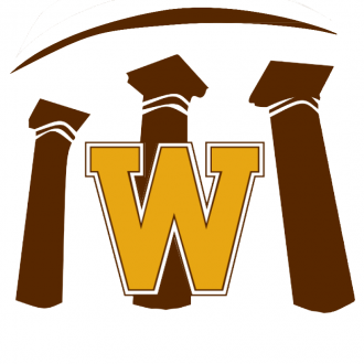 Make a Difference logo: Graphic showing three brown-colored architectural pillars and WMU's gold block W.