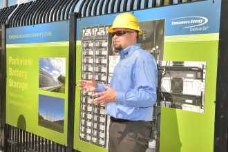 Consumers Energy employee giving a presentation during the battery facility's opening.