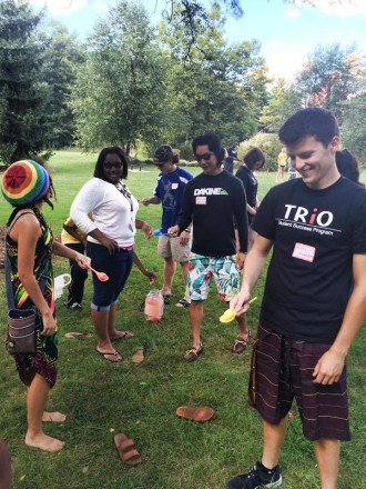 TRiO students playing games during orientation
