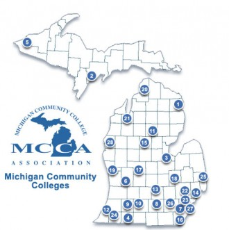 Graphic of the State of Michigan showing community college locations