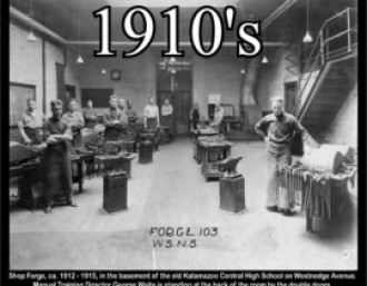 Shop forge, ca. 1912-15, with Director George Waite.