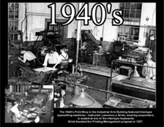 The print shop in the 1940s featured intertype typesetting machines.