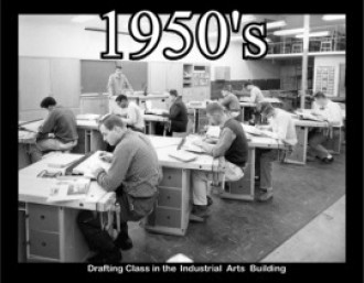 Drafting class in the Industrial Arts building.