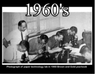 Paper technology lab photo in the 1960 Brown and Gold yearbook.