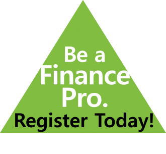 green triangle with the words: be a finance pro - register today