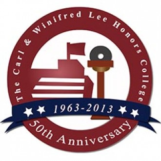 Logo for the 50th anniversary of the Lee Honors College.