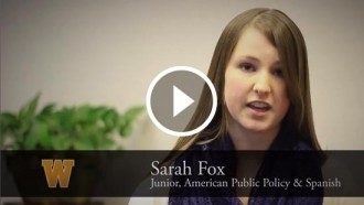 Video still of Sarah Fox's interview.