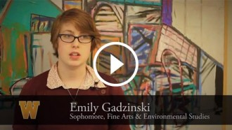 Video still of Emily Gadzinski's interview.