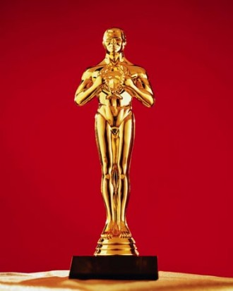 Photo of a golden statuette.