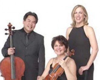 Photo of the Merling Trio members, Renata Artman Knific, Bruce Uchimura and Susan Wiersma Uchimura.