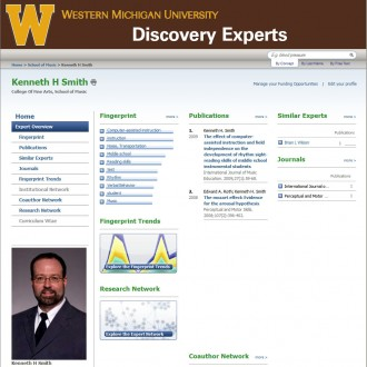 Screen capture of the WMU Discovery Experts portal.