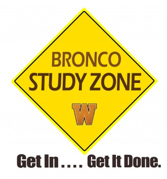 Bronco Study Zone logo; Get In... Get It Done.