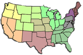 U.S. map showing regions