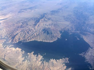 Ariel view of lake and mountains
