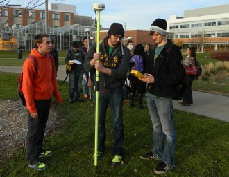 Students using remote sensing equipment at WMU