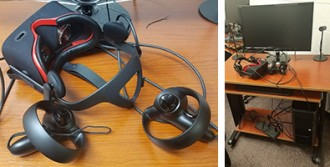 headset and desk from the virtual reality lab