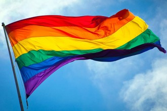 Photo of a rainbow flag.