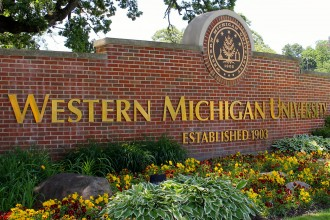 Western Michigan University entrance sign.