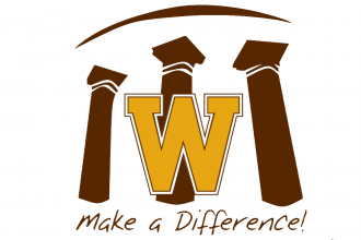 "WMU Make a Difference Award logo showing three brown building columns behind a gold ""W."""