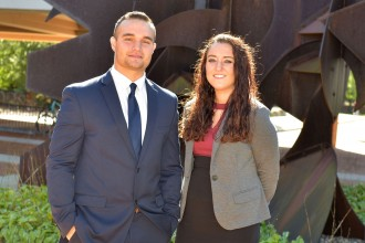Photo of WMU business marketing students Tyler Hughey and Marissa Bruno.