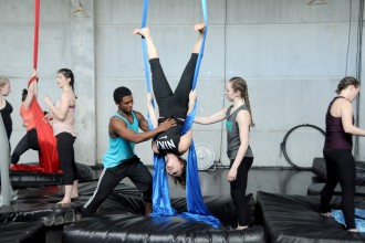 Photo of aerial dancers.