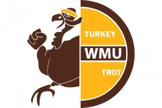 Brown and gold WMU Turkey Trot logo showing a turkey wearing a gold headband.