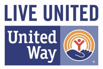 United Way: Live United logo symbolizing a person being held in a hand with a golden rainbow above.