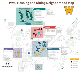 Map showing Western Michigan University's neighborhoods.