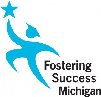 Blue and white logo: Fostering Success Michigan.