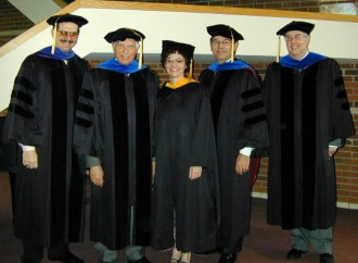 2002 Phi Beta Kappa officers Paul Pancella, John Petro, Maria Perez-Stable, Joe Reish, and Art McGurn.