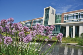 WMU's Sangren Hall with purple flowers in front.