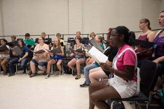 High school students participate in a music class at WMU.
