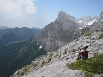 WMU student on an Alpine mountain.