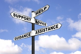 Help, support, advice, guidance, assistance.