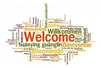 Welcome in several languages in word cloud