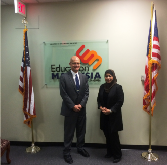 Associate Provost Wolfgang Schlor with an official from Education Malaysia USA