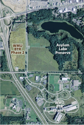 BTR Park aerial with Asylum Lake Preserve