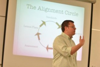 a photo of a teacher giving a talk at the front of a classroom. There is a slide being projected behind him with a circle and several arrows tracing the outer edges of the circle. The image is labeled at the top as the alignment circle.