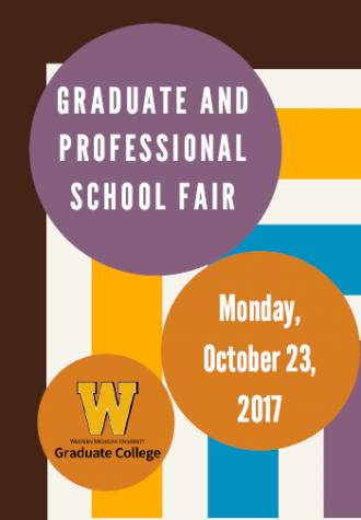 This picture is a graphic for the 2017 Graduate Professional School Fair which takes place on Monday October 23, 2017.  The image is made up of rectangular stripes of color alternating with white stripes. The outer stripe is brown, the next stripe is gold, inside of that teal and finally purple