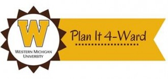 This is the university Plan it forward logo, it looks like a horizontal yellow and brown award ribbon, the right side is the ribbon section that is gold with the words Plan It 4 - Ward in brown text on it. To the left is the medalion side which is a pointy brown ring made up of small brown triangles that form a pointy circular shape with the points facing outward. In the center of the medalion there is a large gold W for W M U, and the words Western Michigan University in small text below the W