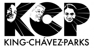 This image is the logo for the King-Chávez-Parks Future Faculty Fellowship Program. It is three Black Letters on a white background K C and P, the K is for Dr. Martin Luther King Jr., The C is for César Chávez, and the R for Rosa Parks. Each letter has the image of the face of each person on it with rays of light emanating out from each face shining through the backdrop of each letter. The words King-Chávez-Parks are written beneath the abbreviation.