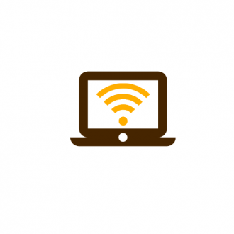 This decorative info graphic shows a brown laptop with a yellow wi-fi signal symbol on its screen.